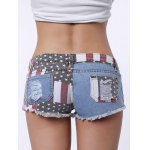 Low-Waisted Striped Star American Flag Denim Micro Shorts - BLUE AND RED
