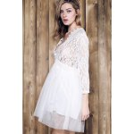 Stylish Plunging Neck 3/4 Sleeve Lace Splicing Plus Size Dress For Women deal