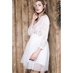 Stylish Plunging Neck 3/4 Sleeve Lace Splicing Plus Size Dress For Women for sale