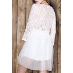 Stylish Plunging Neck 3/4 Sleeve Lace Splicing Plus Size Dress For Women