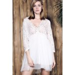 cheap Stylish Plunging Neck 3/4 Sleeve Lace Splicing Plus Size Dress For Women