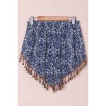 cheap Ethnic Style Full Print Tassel Spliced Shorts For Women