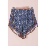Ethnic Style Full Print Tassel Spliced Shorts For Women