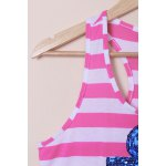 Casual Scoop Neck Striped Sequined Anchor Tank Top For Women deal