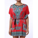 Ethnic Style Scoop Neck Print Color Block Short Sleeve T-Shirt For Women