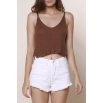 Sexy V-Neck Solid Color Knitted Crop Top For Women