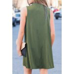 Stylish Mock Neck Solid Color Women's Swing Dress deal