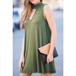cheap Stylish Mock Neck Solid Color Women's Swing Dress