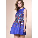 Sweet Round Neck Sleeveless Butterfly Print Dress For Women for sale