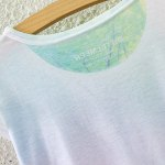 Stylish Scoop Neck Colorful Tree Print High Low Short Sleeve T-Shirt For Women deal