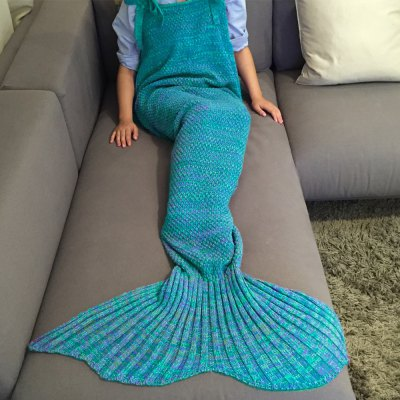 Comfortable Drawstring Style Knitted Mermaid Design Throw Blanket