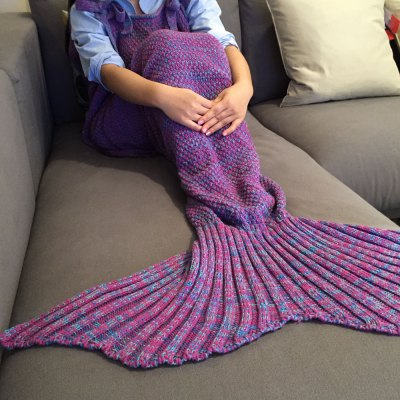 Stylish Drawstring Style Knitted Mermaid Design Sleeping Bag Blanket