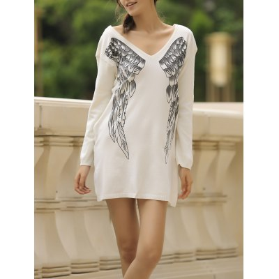 V-Neck Long Sleeve Wing Pattern Loose-Fitting Sweater