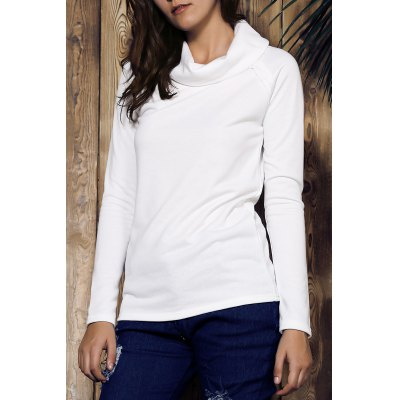 Turtleneck Long Sleeve Solid Color Sweatshirt