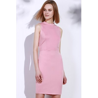 Noble Solid Color Back Hollow Out Sleeveless Dress For Women