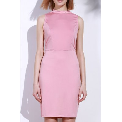 Sleeveless Solid Color Back Hollow Out Bodycon Dress