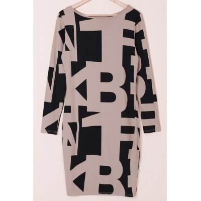 Sexy Off The Shoulder Long Sleeve Geometric Dress For Women