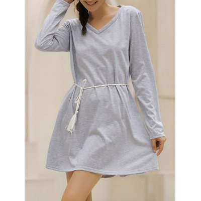 V-Neck Long Sleeve Loose-Fitting Solid Color Dress For Women
