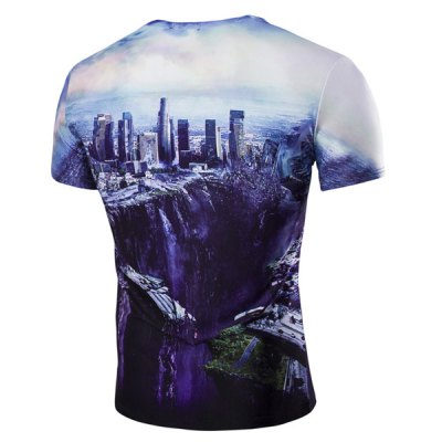 The Fall of the City 3D Print Round Neck Short Sleeve T-Shirt For Men