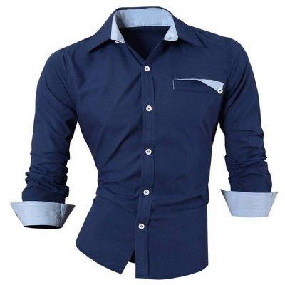 Single Breasted Turn Down Collar Shirt For Men