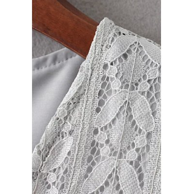 Fashion Plunging Neck Half Sleeve Solid Color Lace Dress For Women