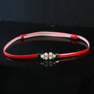 Chic Artificial Pearls Rhinestones Decorated Buckle Adjustable Waist Belt For Women