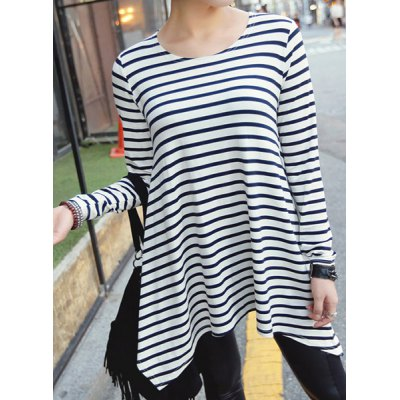 Round Neck Long Sleeve High-Low Hem Striped T-Shirt
