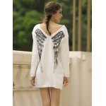 best Stylish V-Neck Long Sleeve Wing Pattern Loose-Fitting Women's Sweater