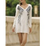 Stylish V-Neck Long Sleeve Wing Pattern Loose-Fitting Women's Sweater