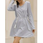 Casual V-Neck Long Sleeve Loose-Fitting Solid Color Dress For Women