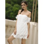 cheap Sexy Off-The-Shoulder Short Sleeve Solid Color Lace Women's Dress