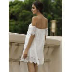 Sexy Off-The-Shoulder Short Sleeve Solid Color Lace Women's Dress deal