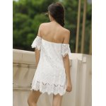 Sexy Off-The-Shoulder Short Sleeve Solid Color Lace Women's Dress for sale