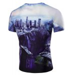 cheap The Fall of the City 3D Print Round Neck Short Sleeve T-Shirt For Men