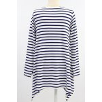 Stylish Round Neck Long Sleeve High-Low Hem Striped T-Shirt For Women for sale