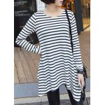 cheap Stylish Round Neck Long Sleeve High-Low Hem Striped T-Shirt For Women