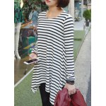 Stylish Round Neck Long Sleeve High-Low Hem Striped T-Shirt For Women deal
