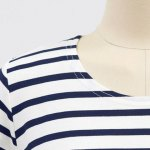 Stylish Round Neck Long Sleeve High-Low Hem Striped T-Shirt For Women photo