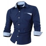 cheap Hot Sale Single Breasted Turn Down Collar Shirt For Men