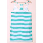 cheap Casual Scoop Collar Sleeveless Color Block Striped Women's Sundress