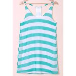 Casual Scoop Collar Sleeveless Color Block Striped Women's Sundress