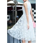 Stylish Scoop Neck Sleeveless White Fitting Lace Women's Dress deal