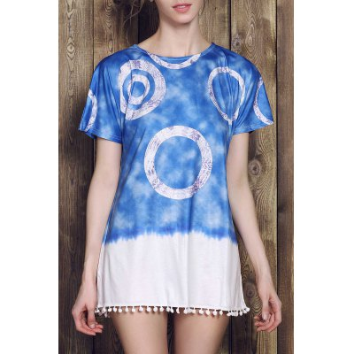 Round Neck Short Sleeve Tie Dye Mini Dress