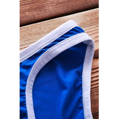 Sexy Color Block U Convex Pouch Design Bikini Swimming Trunks For Men