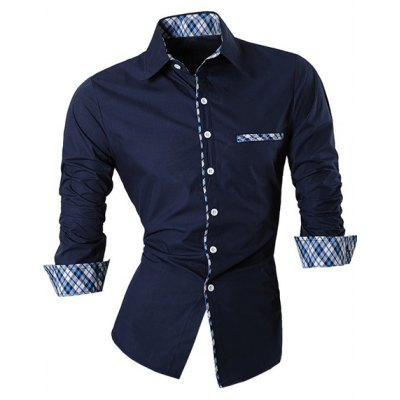 Single Breasted Turn Down Collar Splicing Plaid Shirt For Men