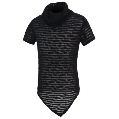 Solid Color Short Sleeves See-through T-Shirt For Men