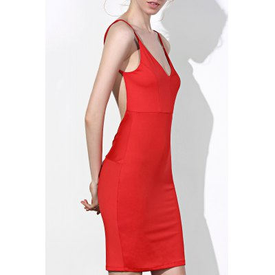 Solid Color Open Back Bodycon Dress