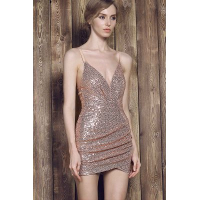 Sexy Spaghetti Strap Asymmetrical Sequined Slimming Women's Dress