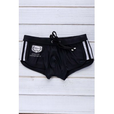 Color Block Logo Pattern Design Lace-Up Boxer Swimming Trunks For Men