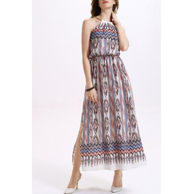 Fashion Round Neck High Waisted Printed Side Slit Dress For Women